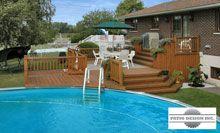 Patio avec piscine hors terre par patio design inc piscine hors terre pinterest terrasse - Amenagement piscine hors terre ...