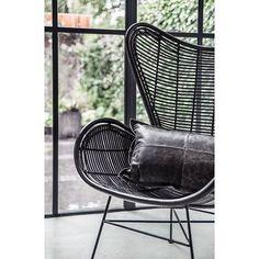 HK-living Stoel zwart rotan Egg chair 100x63x63cm