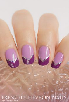 Lilac Chevron French nails - pretty all the way!  #nails #nailart  Click through for more details!