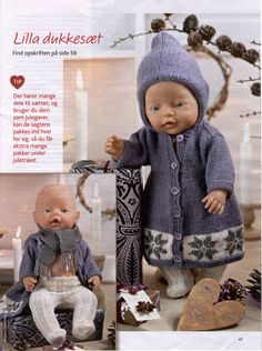 Album Archive - Dukketøj til Baby Born 2 - Ingelise Knitting Dolls Clothes, Doll Clothes Patterns, Doll Patterns, Clothing Patterns, Reborn Dolls, Baby Dolls, Baby Born Clothes, Dolly Doll, Bear Doll