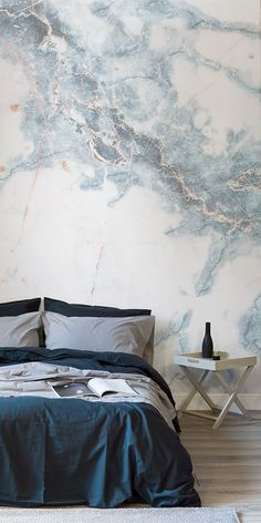Deep Blue Clouded Marble Wall Mural Obsessing over marble? Take a look at this super stylish marble wallpaper. Glistening streaks of blue run through this wallpaper, creating drama on your walls that'll impress any houseguest. It's perfect for modern bedr Feature Wall Bedroom, Accent Wall Bedroom, Blue Bedroom, Bedroom Decor, Budget Bedroom, Wall Paper Bedroom, Master Bedroom, Feature Walls, Bedroom Ideas