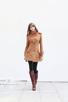 ON Sale Size M Camel Fitted Coat Military Jacket by Sophiaclothing