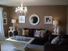 How to decorate around choc brown leather sofas: