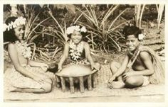 Samoan children gathered around the kava bowl.