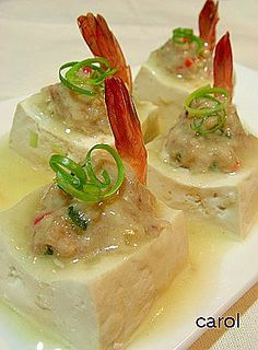 Carol 自在生活 : 釀豆腐 marinated stuffed tofu with shrimp and pork