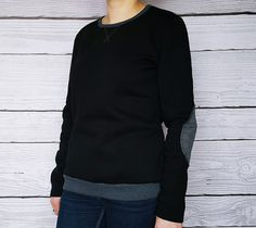 blouson noir,poches coudes gris, blouse en coton avec poches et coudes, : Chemises, blouses par atelier-mademoiselle-k