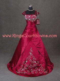 Size 8 Dark Red Taffeta Beaded Cap Sleeve Ball by KingsCourtGowns