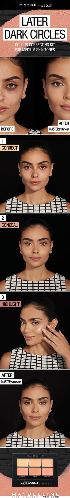 Girls with dark circles get it. Under-eye bags, dark spots and dark circles — all of it's a drag. Especially for medium skin tones. And with all the remedies and color correcting concealers, tricks and tools out there, it's easy to get overwhelmed. Which color do you use? What does the orange concealer do? When do you apply it? And where? That's why we've created our new color correcting palette for your medium skin tone. All it takes is three easy steps: Correct, Conceal and Highlight.