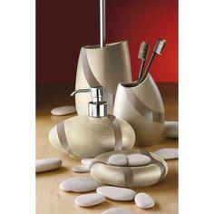 Stone Sandstone Bathroom Accessory Set Includes Soap Dish Toothbrush Holder Dispenser Toilet Brush