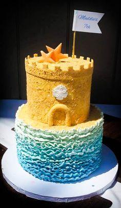 Sand castle, beach cake with ombre buttercream ruffles.