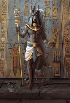 Anubis the Egyptian God Egyptian Mythology, Egyptian Goddess, Egyptian Symbols, Egyptian Art, Egyptian Anubis, Fantasy Wesen, Egypt Concept Art, Bastet, Foto Fantasy