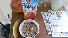 Breakfast: Brown sugar oatmeal with raisins, banana, and quakers popped rice crisps, with water