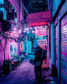 Cyberpunk, Neon And Futuristic Street Photos Of Seoul By Steve Roe Cyberpunk City, Ville Cyberpunk, Cyberpunk Kunst, Cyberpunk Aesthetic, City Aesthetic, Purple Aesthetic, Cyberpunk Tattoo, Cyberpunk 2077, Cyberpunk Fashion