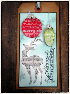 Christmas Tag Using Tim Holtz alcohol ink resist technique