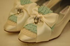 Marie Antoinette Ivory and Mint Lace Pumps.  via Etsy.