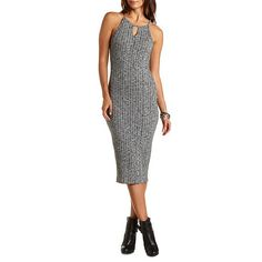Ribbed & Marled Bodycon Midi Dress: Charlotte Russe