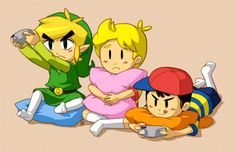 Toon Link and Ness playing the Nintendo GameCube while Lucas is watching. Too Cute ❤!