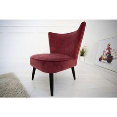 Moderne relaxstoel Retro sixties rood fluweel - 35022