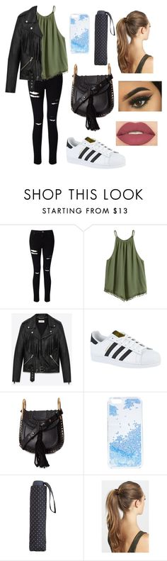 """rainy day outfit"" by fashionblogger2122 on Polyvore featuring Miss Selfridge, Yves Saint Laurent, adidas, Chloé, Skinnydip, MANGO, France Luxe and Smashbox"