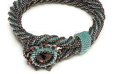Eye of the twister: bracelet, herringbone, peyote stitch.  Find more projects on BeadAndButton.com