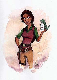 Zoe from Firefly - watercolor and pen by Corrine Roberts