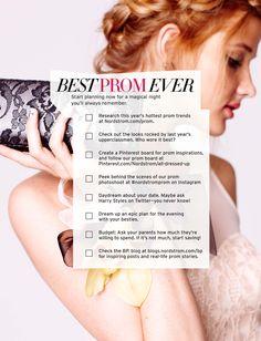 Best Prom Ever. Start planning now! #Checklist #NordstromProm