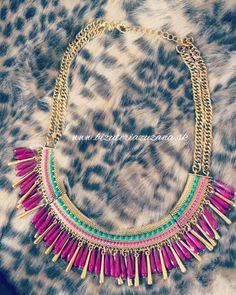 Cyklamenovo- zlatý náhrdelník