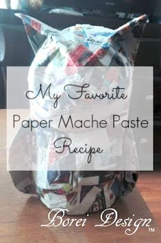 Recipe and directions how to mix an awesome, strong, mildew resistant paper mache paste or glue using kitchen staples. Informations About Recipe How To Make My Favorite Paper Mache Paste Pin You can e Diy Craft Projects, Paper Mache Projects, Fun Crafts, Arts And Crafts, Paper Crafts, Craft Tutorials, Project Ideas, Paper Mache Crafts For Kids, Craft Ideas