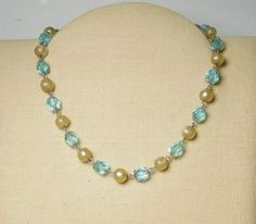 Vintage Chain Beaded Choker Necklace 16 Inches Long Light Blue