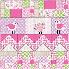 quilt patterns, free quilt, babi bird, bird pink