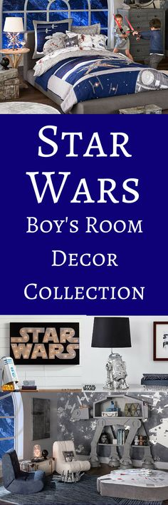 What boy wouldn't love to have a Star Wars bedroom? This room is so cool and can even work for an older child or teen. So many cool Star Wars stuff for the wall and shelves! #afflink #starwarsdecor #boysroomdecor #starwars #bedroomdecor #kidsroomdecor