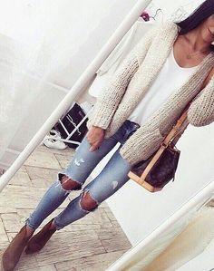 Cream Wool Cardigan + Destroyed Skinny Jeans