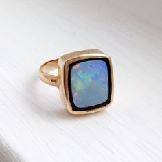 Antique Victorian 14K Gold Bezel Set Opal and Enamel Ring