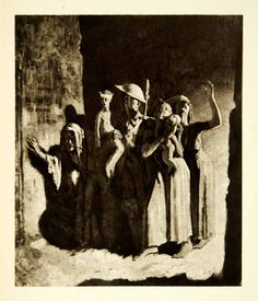 1921 Rotogravure William Orpen Art WWI Bombing Night Civilians British XAHA8
