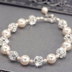 Swarovski Pearl and Rhinestone Bridal Bracelet