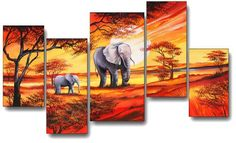 Family Impressionist Paintings, Landscape Paintings, African Art Paintings, Africa Art, Elephant Art, Photo Canvas, Canvas Art Prints, Art Pictures, Art Drawings