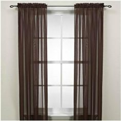 Lichtenberg & Company, Inc. Rod Pocket Sheer Window Curtain Panel In Sage Sheer Curtain Panels, Window Panels, Sheer Curtains, Window Curtains, Brown Curtains, Bedroom Curtains, My Home Design, Home Interior Design, House Design