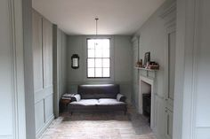 lovely dusty green/blue color, perhaps Pale Powder by Farrow and Ball Blue Gray Bedroom, Georgian Architecture, Wall Colors, Paint Colors, Bedroom Loft, Beautiful Kitchens, Colorful Interiors, Small Spaces, Furniture Design
