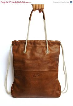 ON SALE Leather Backpack/ Tote Brown Color JUD Hand Made by JUDtlv, $212.50