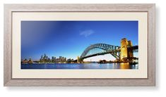 Sydney Harbour Bridge Framed Print, Rustic, Modern, None, Cream, Single piece, 10 x 24 inches