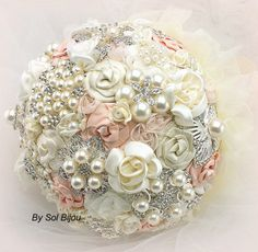Brooch Bouquet Pearl Jeweled Bouquet Bridal Bouquet in Blush and Ivory with Pearls Fabric and Brooches