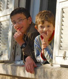 Curious boys in the town of Hama, SYRIA
