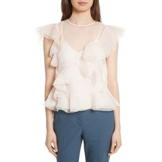 Women's Rebecca Taylor Organza Ruffle Blouse ($375) ❤ liked on Polyvore featuring tops, blouses, champagne, ruffle blouse, embellished top, cocktail blouses, frilly blouse and embellished blouse