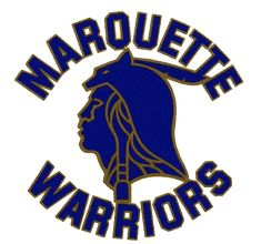 Marquette Golden Eagles Primary Logo (1971) - Blue and Gold Indian head in script circle