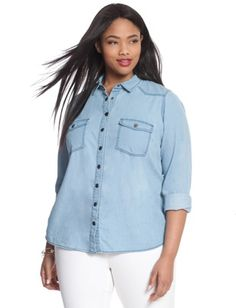 ELOQUII Plus Size Light Wash Chambray Shirt From The Plus Size Fashion Community On www.VintageAndCurvy.com
