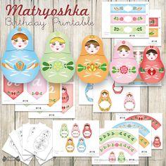 Matryoshka Thank You Card Printable file Russian Babushka Nesting Stacking Doll
