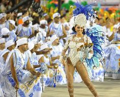 Revellers of Portela samba school perform.
