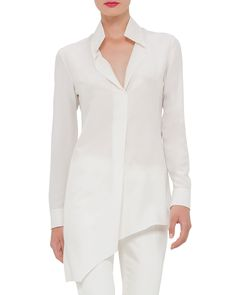 Akris Long-Sleeve Asymmetric Tunic & Melissa Techno Cotton/Silk Pants
