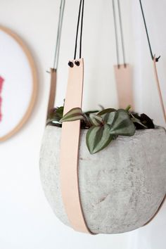 nice Leather plant hanger | pot hanger | hanging planter