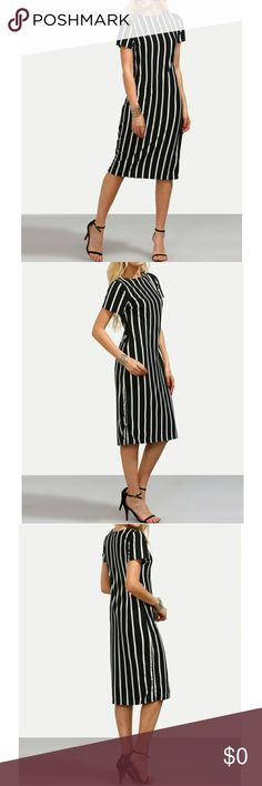 NOW AVAILABLE!! 🎆🇺🇸4TH OF JULY SALE🇺🇸🎆 BLACK STRIPED SHEATH DRESS! THIS CAN BE VERY CASUAL OR DRESSY FOR A NUGHT OUT! ❤💞 FABRIC IS VERY STRETCHY.  35% COTTON AND 65% POLYESTER.  -ACCEPTING REASONABLE OFFERS AND BUNDLE DISCOUNTS AVAILABLE! Dresses Midi